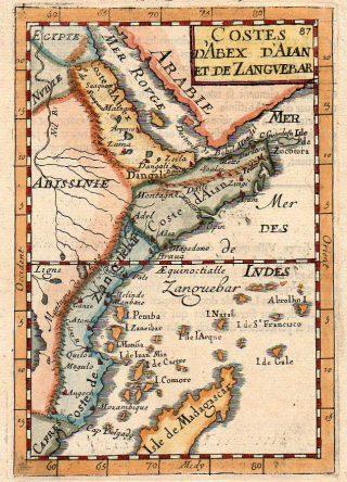 Costes d'Abex d'Aian et de Zanguebar. Map published 1683 Paris