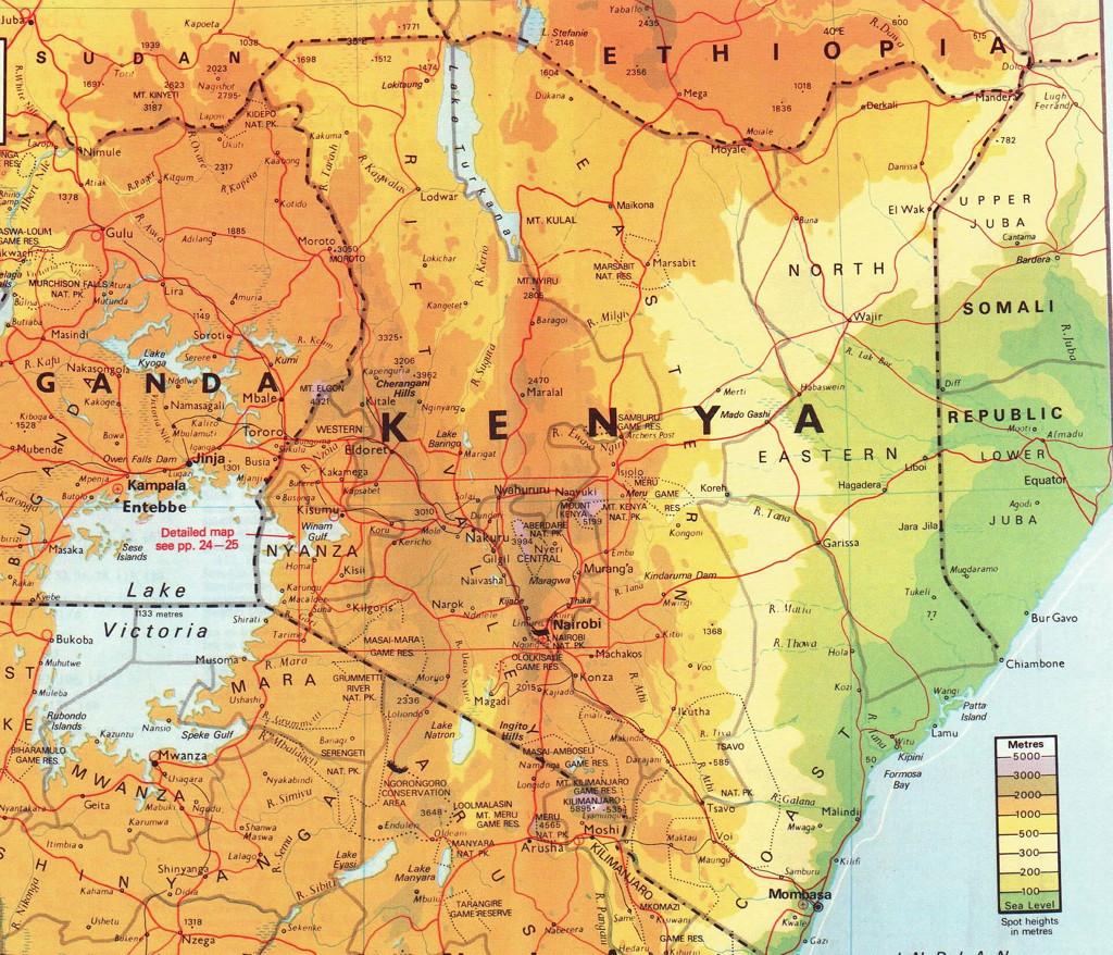 Physical and political map of Kenya-Kenya Holidays