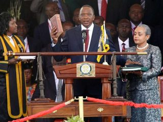 Uhuru Kenyatta swears as the fourth president of Kenya