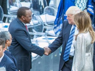 Donald Trump and Uhuru Kenyatta at the G7 in Taormina