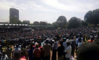 Crowd waiting for Raila Odinga-Uhuru park in Nairobi
