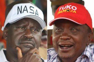 Raila Odinga (left) and Kenyatta (right)