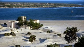 A view of the channel that separates Lamu island from Manda island on the Shela dunes-Kenya