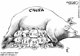Chinese corruption greases Kenya's leadership. Vignette by Gado on the Nation.