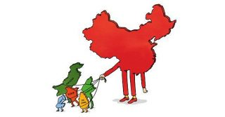 New York Times cartoon showing China tying up the countries it finances