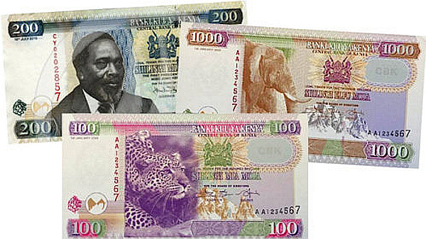 The new currency of Kenya. Old and new banknotes